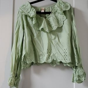 Mint embroidered shirt